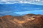 View from Osorno to Calbuco volcano, Llanquihue Lake, Region de los Lagos, Chile, South America