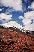 the snow-capped summit of the Osorno volcano, Region de los Lagos, Chile, South America