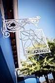 Signboard of La Chascona (museum in the home of Pablo Neruda), capital city of Santiago de Chile, Chile, South America