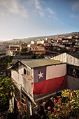 huge Chilean flag on house wall, Valparaiso, Chile, South America