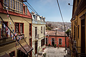 View of the hills of the port city of Valparaiso, colorful houses, Chile, South America