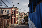 Corrugated iron architecture, colorful houses and the hills of Valparaiso, Chile, South America