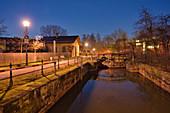 Lock 100 in Bamberg, Ludwig-Donau-Main-Canal, Upper Franconia, Franconia, Bavaria, Germany, Europe