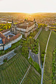 Aerial view of Marienberg Fortress in Wuerzburg, sunrise, Lower Franconia, Franconia, Bavaria, Germany, Europe