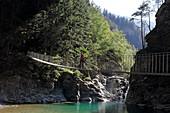 Suspension bridge over the Hinterrhein at the southern exit of the Via Mla Gorge, Graubünden