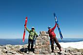 At the summit of Mt. Kosciuszko in the Kosciuszko National Park, multi-day ski tour, NSW, Australia