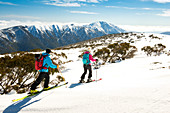 Ski tour in the Alpine National Park near Mt. Loch, Mt. Feathertop in the background, Victoria, Australia