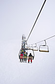 Ski lift during a white out in the Mt. Hotham ski area, Victoria, Australia