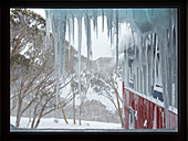View through the window of a ski lodge in the South Hotham ski area, Victoria, Australia