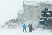 Snow storm in Mt. Hotham ski village, Victoria, Australia