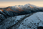 Mt. Feathertop with the Razorback Ridge in Alpine National Park in the early morning light, Victoria, Australia