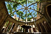 France, Herault, Villeveyrac, the Valmagne abbey, a fountain in the cloister