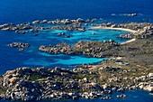 France, Corse du Sud, Bonifacio, Lavezzi Islands Nature Reserve and the Furcone and Acciarino cemeteries hosting the graves of the Semillante shipwrecked men (aerial view)
