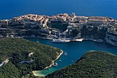 France, Corse du Sud, Bonifacio, the limestone cliffs, the citadel and the old town (aerial view)