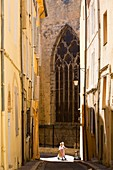 France, Bouches du Rhone, Aix en Provence, Clovis Hugues Street, Church of St. John of Malta (XIII century), historical monument