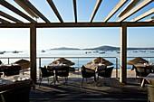 France, Corse du Sud, Zonza, Sainte Lucie de Porto Vecchio, Pinarello hotel, restaurant, terrace