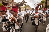 France, Guadeloupe, Grande Terre, Pointe a Pitre, musicians of Restan la band from Le Gosier, during the closing parade of Shrovetide