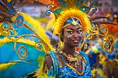France, Guadeloupe, Grande Terre, Pointe a Pitre, dancer of Karukera Stars band from Lamentin, during the closing parade of Shrovetide