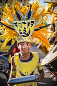 France, Guadeloupe, Grande Terre, Pointe à Pitre, portrait of a young musician of Pirouli Band, during the closing parade of Shrovetide