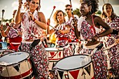 France, Guadeloupe, Grande Terre, Pointe a Pitre, musicians drummers of Batala band, during the closing parade of Shrovetide