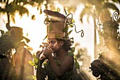 France, Guadeloupe, Grande Terre, Pointe a Pitre, portrait of a musician of traditionnal gwoup a po Restan La band from Le Gosier, during the closing parade of Shrovetide
