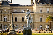 France, Paris, statue in Luxembourg gardens with the Palace in the background