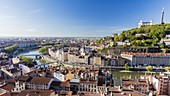 France, Rhone, Lyon, historical site listed as World Heritage by UNESCO, the Croix Rousse district, the Saint Paul district and Saint-Paul church at the edge of the Saone in the Vieux Lyon (Old Town) overlooked by Notre Dame de Fourviere basilica