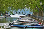 France, Haute-Savoie (74), Annecy, boats on the edge of the lake