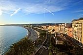France, Alpes Maritimes, Nice, Quai des USA and street Ponchettes, Ponchettes beach