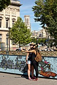 France, Paris, area listed as World Heritage by UNESCO, Selfie of two young girls