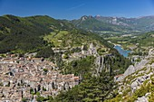 France, Alpes de Haute Provence, Sisteron, the old town and the Citadel, XIV XVI century, historical monument, view of Le Buech and railroad bridge