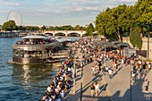 France, Paris, area listed as World Heritage by UNESCO, the New Berges at Quai d'Orsay with the bar barge Flow