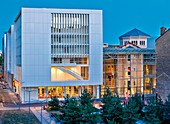 France, Rhone, Lyon, Catholic University of Lyon, St. Paul, Archives square, night panorama of the university