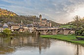 France, Aveyron, Estaing, labelled Les Plus Beaux Villages de France (The most beautiful villages of France), a stop on el Camino de Santiago, listed as World Heritage by UNESCO, Lot valley