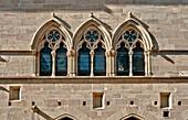 France, Tarn, Cordes sur Ciel, Grand Rue Raymond VII, Grand Fauconnier house, the 14th century on the first floor windows