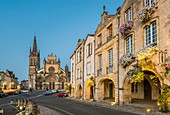 France, Gironde, Bazas, stage on the way of Santiago de Compostela, Cathedral square, Saint-Jean-Baptiste cathedral