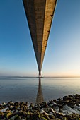 France, Calvados, Seine-Maritime, the Pont de Normandie spans the Seine to connect the towns of Honfleur and Le Havre