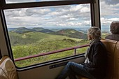 France, Puy de Dome, area listed as World Heritage by UNESCO, Parc Naturel Regional des Volcans d'Auvergne (Natural regional park of Volcans d'Auvergne), Chaine des Puys, Orcines, the Puy de Dome, the cog railway Panoramique des Domes