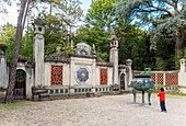 France, Paris, Garden of Tropical Agronomy in the Bois de Vincennes is home to the remains of the colonial exhibition in 1907, esplanade Dinh Vietnamese inspiration and bronze funerary urn urns containing the imperial palace in Hue