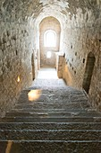 France, Manche, Bay of Mont Saint Michel listed as World Heritage by UNESCO, stone stairs inside the abbey
