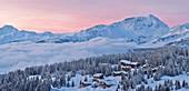 France, Savoie, Beaufortain, Hauteluce, Les Saisies, ski resort at dawn