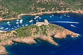 France, Corse du Sud, Gulf of Girolata Girolata, Girolata Fort (aerial view)