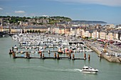 France, Seine Maritime, Dieppe, Dieppe marina and downtown dominated by the castle of Dieppe