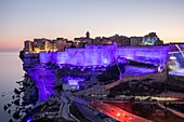 France, Corse du Sud, Bonifacio, the ramparts of the citadel floodlit for the 3rd edition of Festi Lumi in July 2016