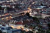 France, Doubs, Besancon, old city, Saint Jacques hospital and Notre Dame du Refuge chapel, from Fort de Chaudanne