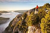 France, Alpes de Haute-Provence, regional natural reserve of Verdon, Grand Canyon of Verdon, cliffs of the Barres of Escalès seen by the belvedere of Pas de la Bau, morning autumn fogs