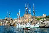France, Finistere, Brest, Brest 2016 International Maritime Festival, large gathering of traditional boats from around the world, every four years for a week, the castle (Navy museum) at the mouth of the Penfeld river, schooners of the Navy
