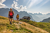 Hikers start the second day of the Trekking del Laghetti Alpini, Ticino, Switzerland