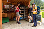 Self-service counter with alpine cheese in Fusio, Trekking del Laghetti Alpini, Ticino, Switzerland