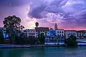 City skyline at sunset in Seville, Spain